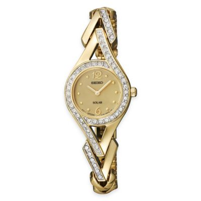 Seiko Solar Ladies' Dress Watch in Goldtone Stainless Steel with Swarovski® Crystals