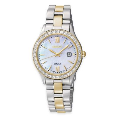 Seiko Solar Ladies' Swarovski® Crystal Watch in Stainless Steel with Mother of Pearl Dial