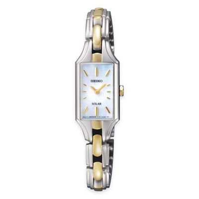 Seiko Solar Ladies' Dress Watch in Two-Tone Stainless Steel with Mother of Pearl Dial
