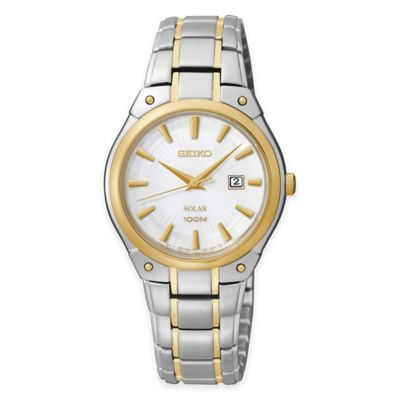 Seiko Solar Ladies' Dress Watch in Two-Tone Stainless Steel with White Dial and Calendar Date