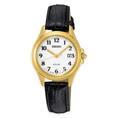 Seiko Solar Women's Watch in Goldtone Stainless Steel with Black Leather Strap