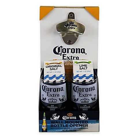 buy corona wall mounted bottle opener and drinkware gift set from bed bath beyond. Black Bedroom Furniture Sets. Home Design Ideas