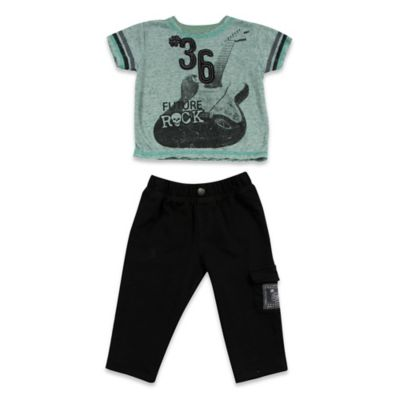 AMY COE Size 12M 2-Piece Future Rock Star Shirt and Pant Set in Grey/Green