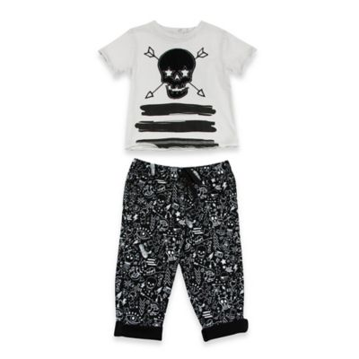 AMY COE Size 12M 2-Piece Skull and Arrow Shirt and Pant Set in White/Black