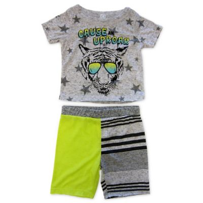 "AMY COE Size 12M 2-Piece ""Cause an Uproar"" Shirt and Short Set in Grey/Yellow"
