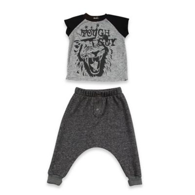 "AMY COE Size 12M 2-Piece ""Tough Guy"" Shirt and Pant Set in Black/Grey"