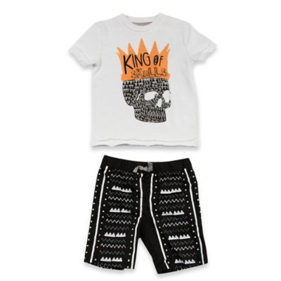 "AMY COE Size 12M 2-Piece ""King of Skulls"" Shirt and Short Set in Black/White"
