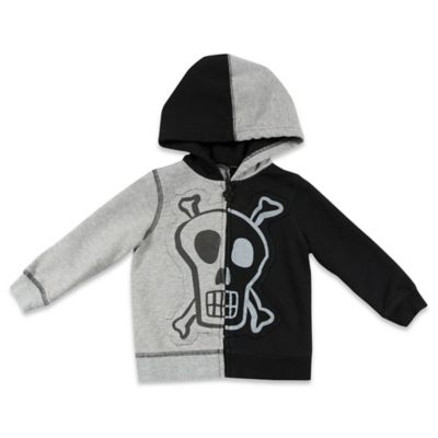 AMY COE Size 2T Silly Skull Colorblock Hoodie in Black/Grey