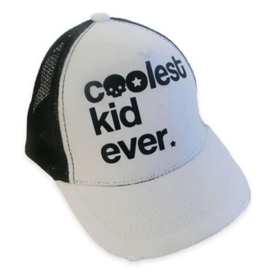 "Amy Coe Newborn ""Coolest Kid Ever"" Trucker Hat in White"