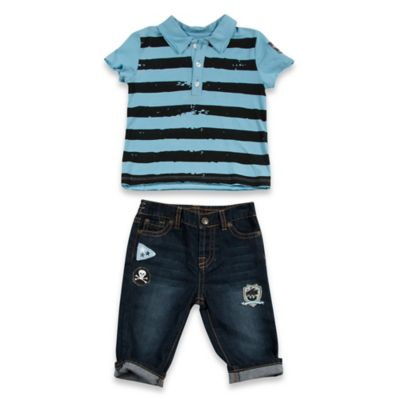 AMY COE Size 12M 2-Piece Pirates Rule Shirt and Denim Short Set in Blue