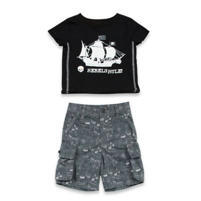 AMY COE Size 12M 2-Piece Rebels Rule Shirt and Denim Short Set in Black
