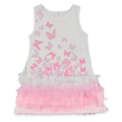 AMY COE Fly Size 18M Away Butterfly Sleeveless Dress in White/Pink