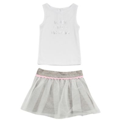 """AMY COE Size 12M 2-Piece """"We Are the Dreamers"""" Sleeveless Top and Tulle/French Terry Skort Set"""