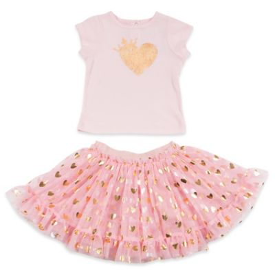 AMY COE Size 24M 2-Piece Sparkle Heart Top and Skirt Set in Blush/Gold