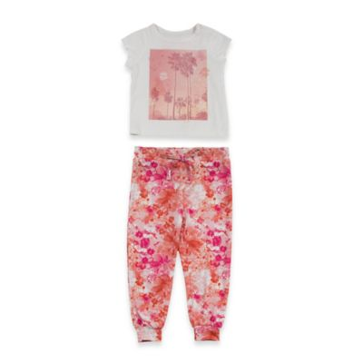 AMY COE Size 6M 2-Piece Palm Springs Top and Pant Set in Pink/Orange
