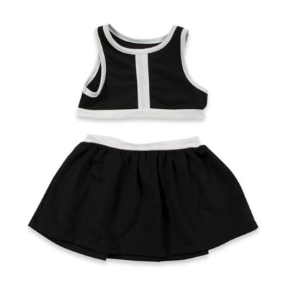 AMY COE Size 12M 2-Piece Color Block Crop Top and Skirt Set in Black/White