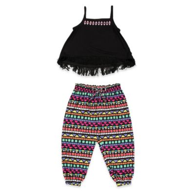 AMY COE Size 24M 2-Piece Fringe Top and Tribal Pant Set in Black/Multicolor