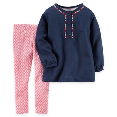 carter's® Size 18M 2-Piece Embroidered Poplin Top and Print Legging Set in Navy/Pink