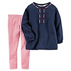 carter's® Size 9M 2-Piece Embroidered Poplin Top and Print Legging Set in Navy/Pink