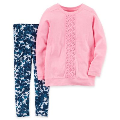 carter's® Newborn 2-Piece Embroidered Lace Top and Floral Legging Set in Pink/Blue