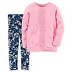 carter's® Size 12M 2-Piece Embroidered Lace Top and Floral Legging Set in Pink/Blue