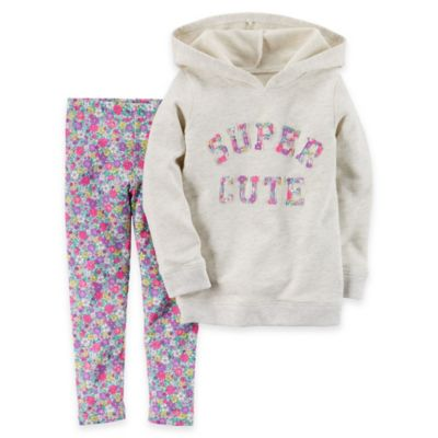 "carter's Newborn 2-Piece ""Super Cute"" French Terry Hoodie and Floral Legging Set"