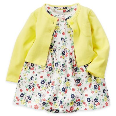carter's Size 6M 2-Piece Floral Bodysuit Dress and Cardigan Set in Ivory/Yellow