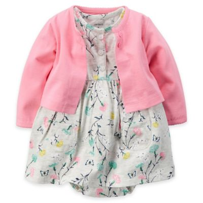 carter's Size 18M 2-Piece Floral Bodysuit Dress and Cardigan Set in Pink/Grey