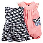 carter's Size 18M 3-Piece Flutter Sleeve  Dress and Butterfly Romper Set in Navy/Pink