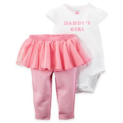 "carter's Size 18M 2-Piece ""Daddy's Girl"" Bodysuit and Tutu Pant Set in White/Pink"