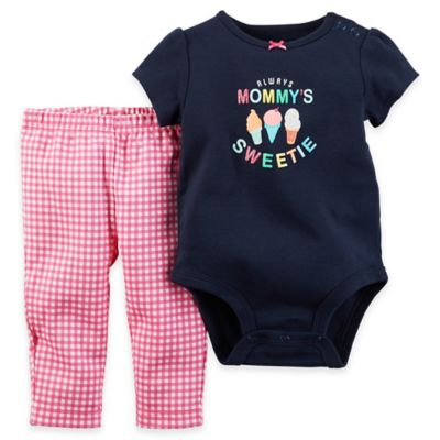 """carter's® 2-Piece Size 18M """"Always Mommy's Sweetie"""" Bodysuit and Pant Set in Navy/Multicolor"""