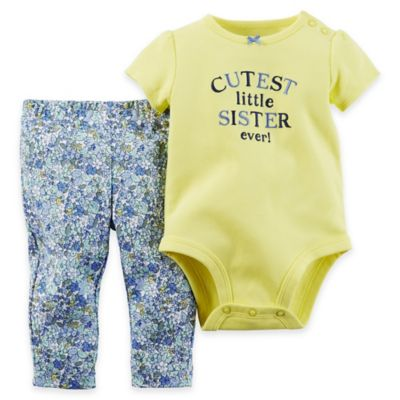 "carter's® Size 12M ""Cutest Little Sister Ever!"" Bodysuit and Pant Set in Yellow/Blue"
