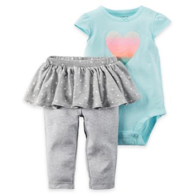 carter's® 2-Piece Size 3M Heart Bodysuit and Dot/Stripe Tutu Pant Set in Aqua/Grey