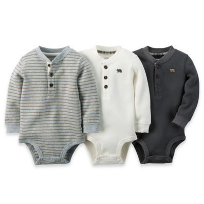 carter's® Size 24M 3-Pack Long-Sleeve Thermal Bodysuits in Grey/White