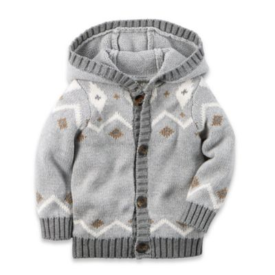 carter's® Size 6M Fair Isle Hooded Cardigan in Grey