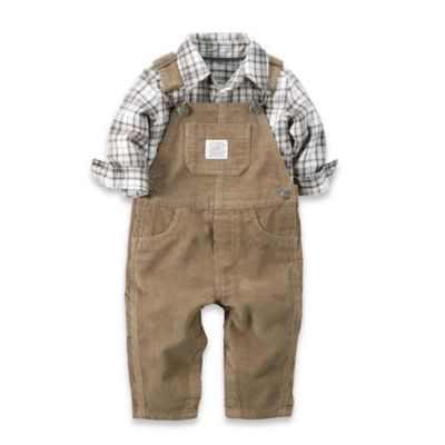 carter's® Size 12M 2-Piece Corduroy Overalls Set in Tan