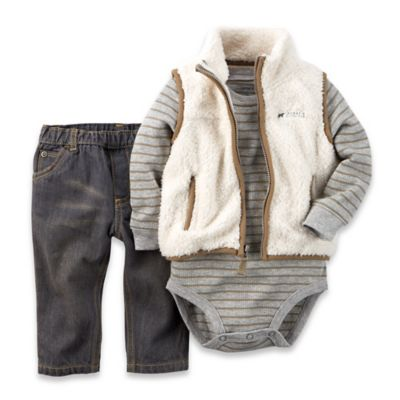 carter's® Size 9M 3-Piece Sherpa Vest, Bodysuit, and Pant Set in Grey