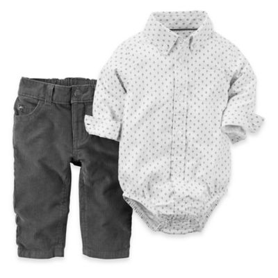 carter's® Size 12M 2-Piece Oxford Bodysuit and Corduroy Set in White/Grey