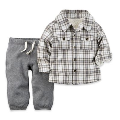 carter's® Newborn 2-Piece Sherpa Flannel Top and Pant Set in Grey