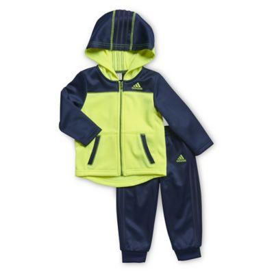 adidas® Size 3M 2-Piece Focus Tracksuit Set in Indigo/Yellow