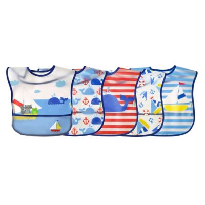green sprouts® by i play.® 5-Pack Whale/Sailboat Wipe-Off Bibs in Blue/Red
