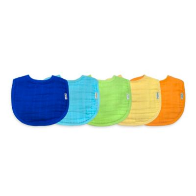 green sprouts® by i play.® 5-Pack Organic Cotton Muslin Boy Bibs
