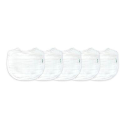 green sprouts® by i play.® 5-Pack Organic Muslin Bibs in White