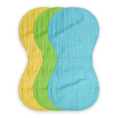 green sprouts® by i play.® 3-Pack Organic Muslin Burp Cloths in Aqua/Green