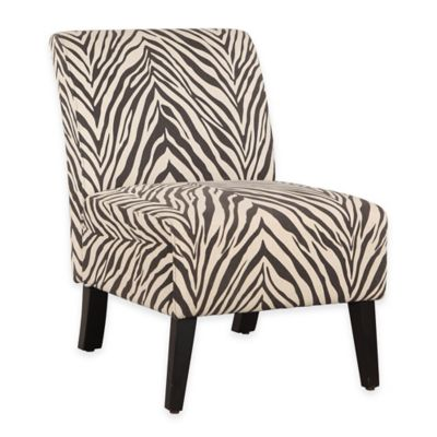 Lily Zebra Patterned Linen Chair in Brown/White