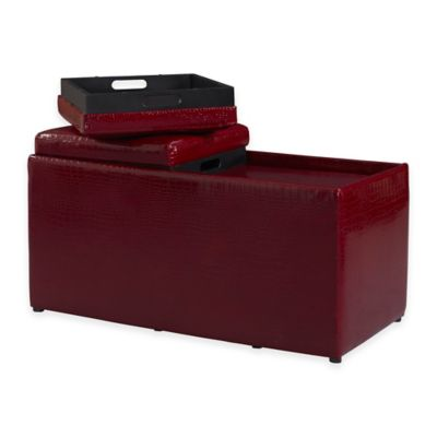 Croco BOGO Ottoman in Red