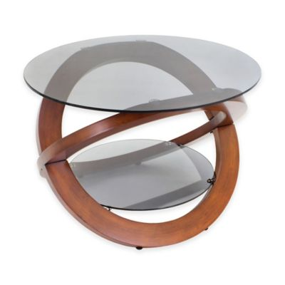 LumiSource Linx Smoked Glass Coffee Table in Walnut
