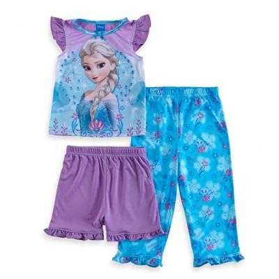 Disney® Frozen Size 2T 3-Piece Elsa Short-Sleeve Pajama Set in Purple