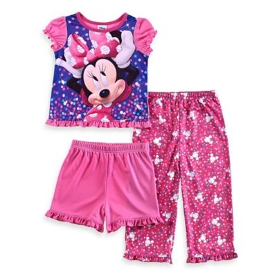 Disney® Minnie Mouse Size 12M 3-Piece Short-Sleeve Ruffle Pajama Set in Pink