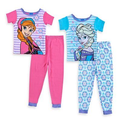 Disney® Frozen Size 3T 4-Piece Elsa and Anna Short-Sleeve Pajama Set